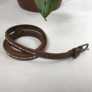 Aerie Silver Beaded Thin Genuine Leather Belt - G3